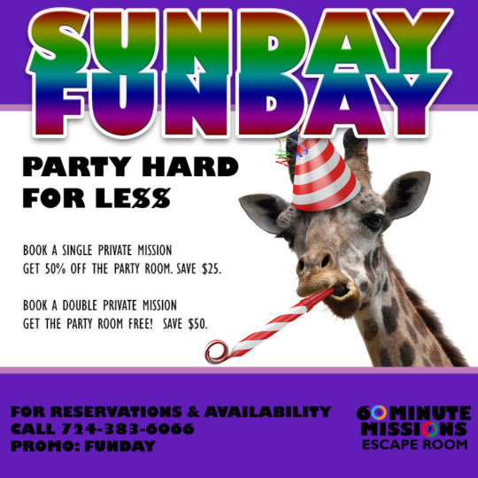 Sunday Funday Party Room Special